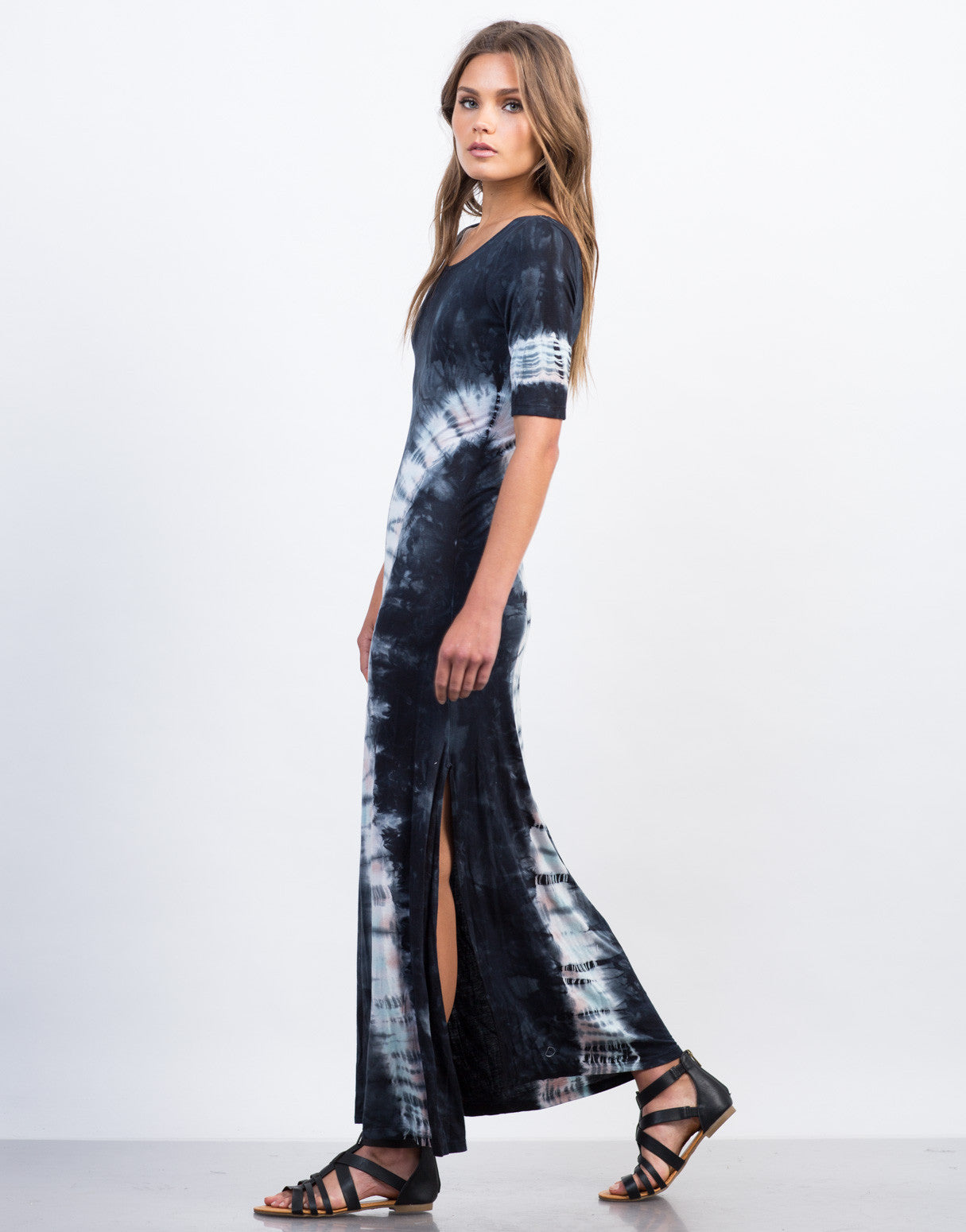 Side View of Scoop Neck Tie-Dye Maxi Dress