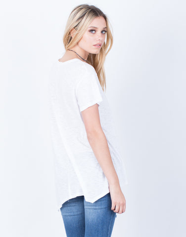 Back View of Scoop Neck Tunic Tee