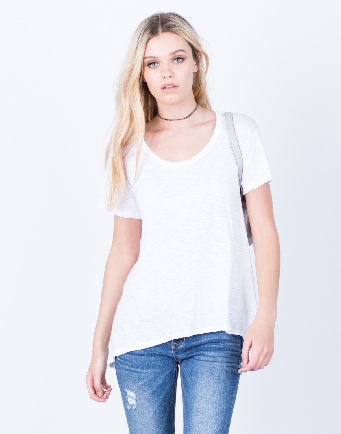 Front View of Scoop Neck Tunic Tee