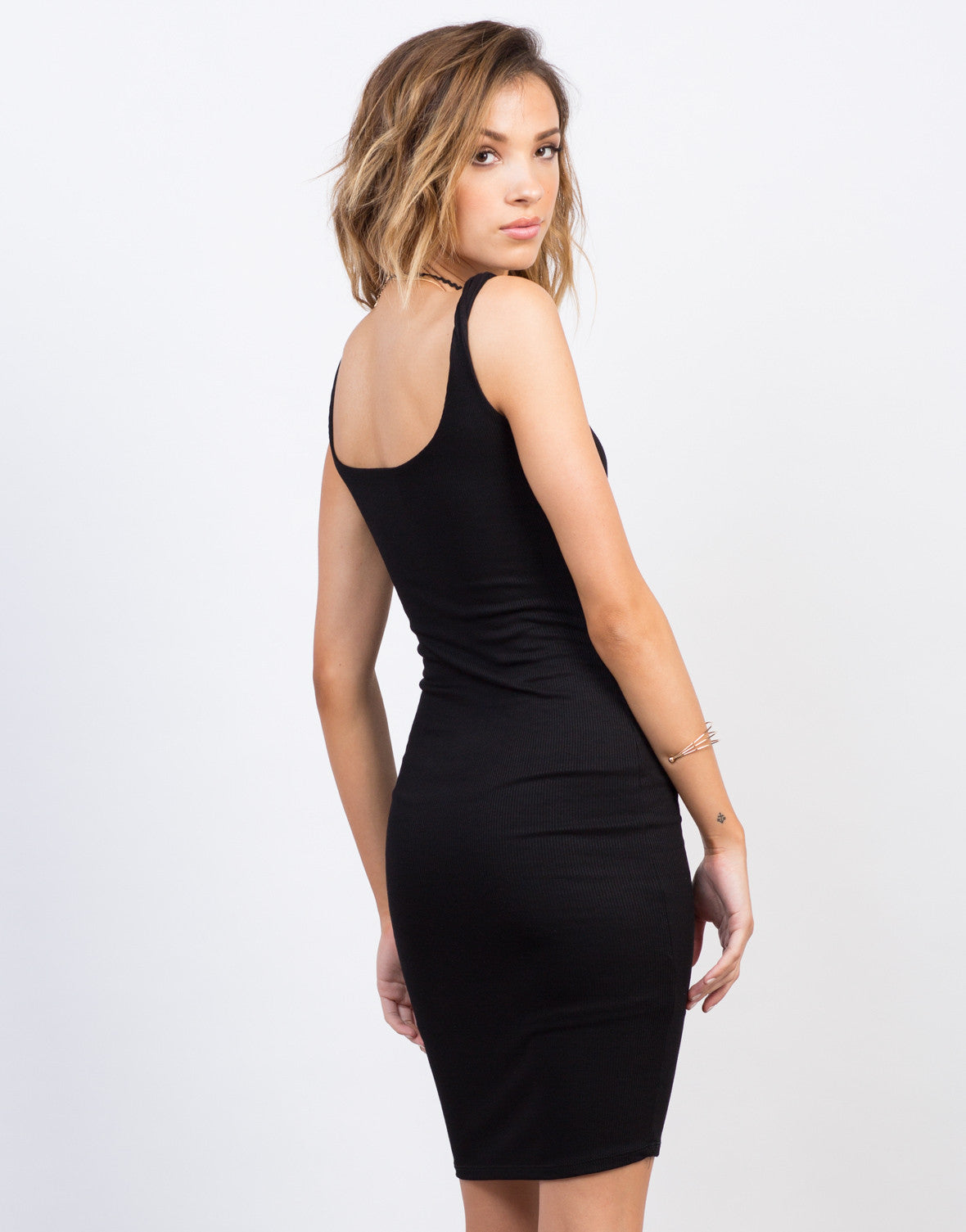 Back View of Scooped Ribbed Bodycon Dress