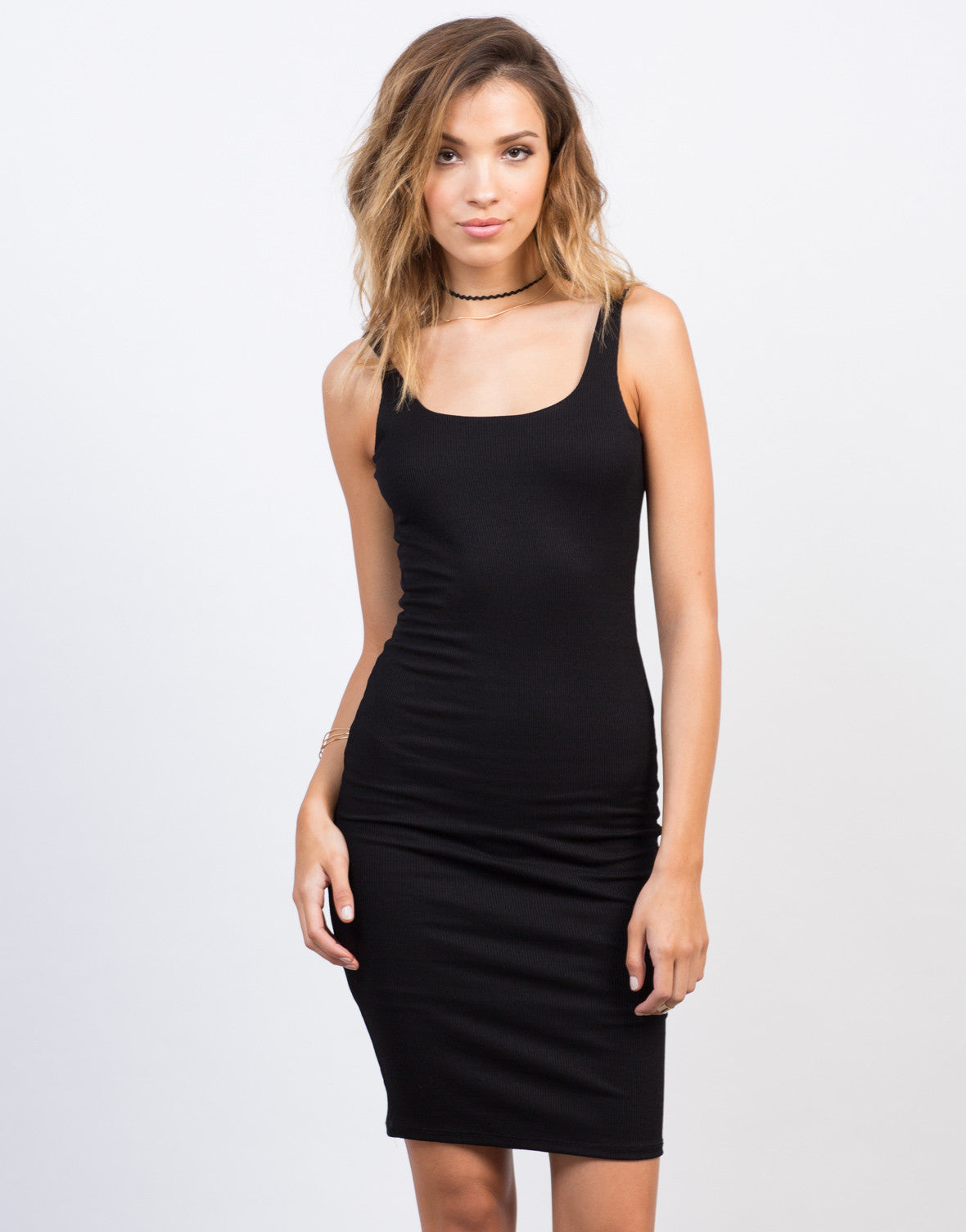 Front View of Scooped Ribbed Bodycon Dress