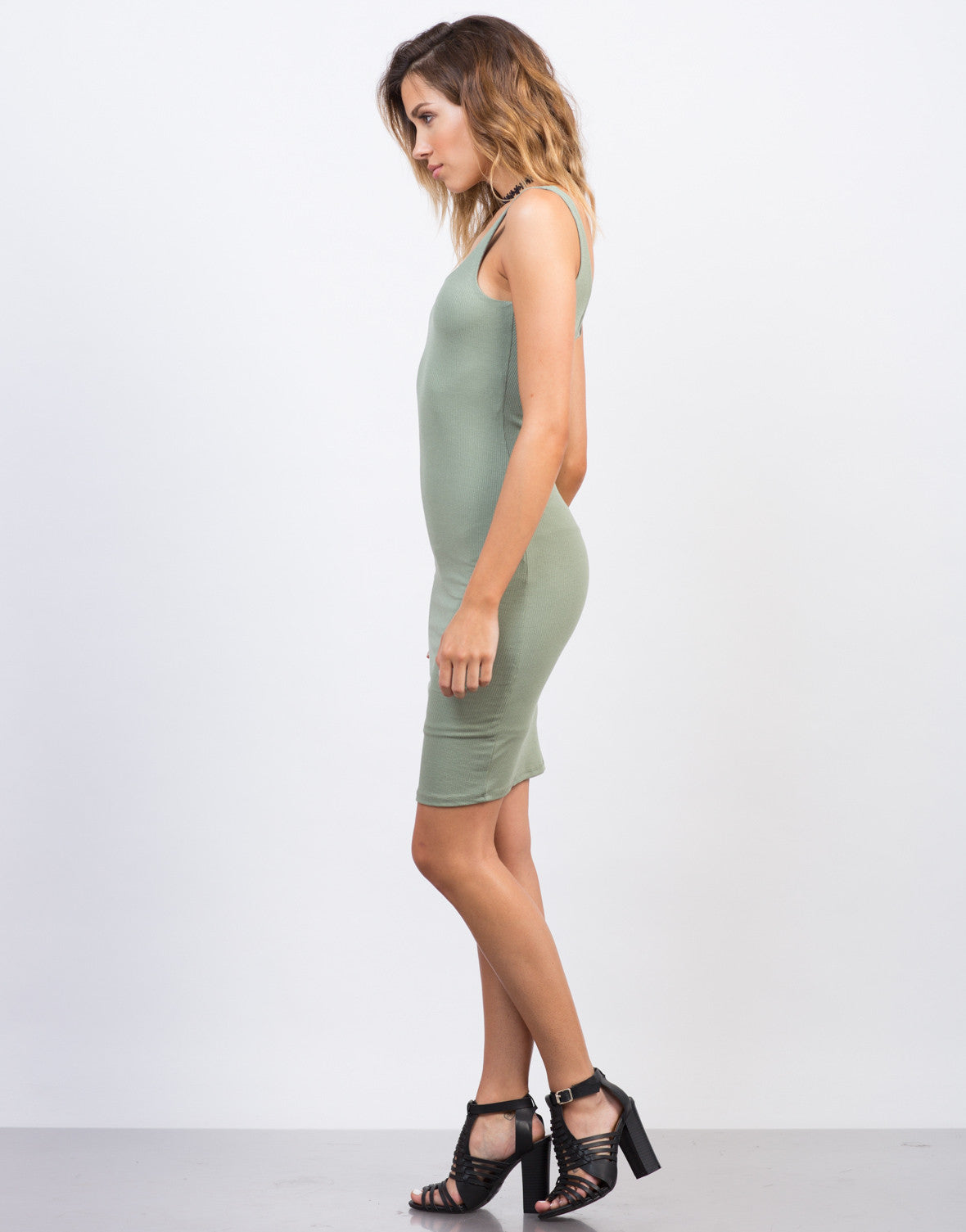 Side View of Scooped Ribbed Bodycon Dress
