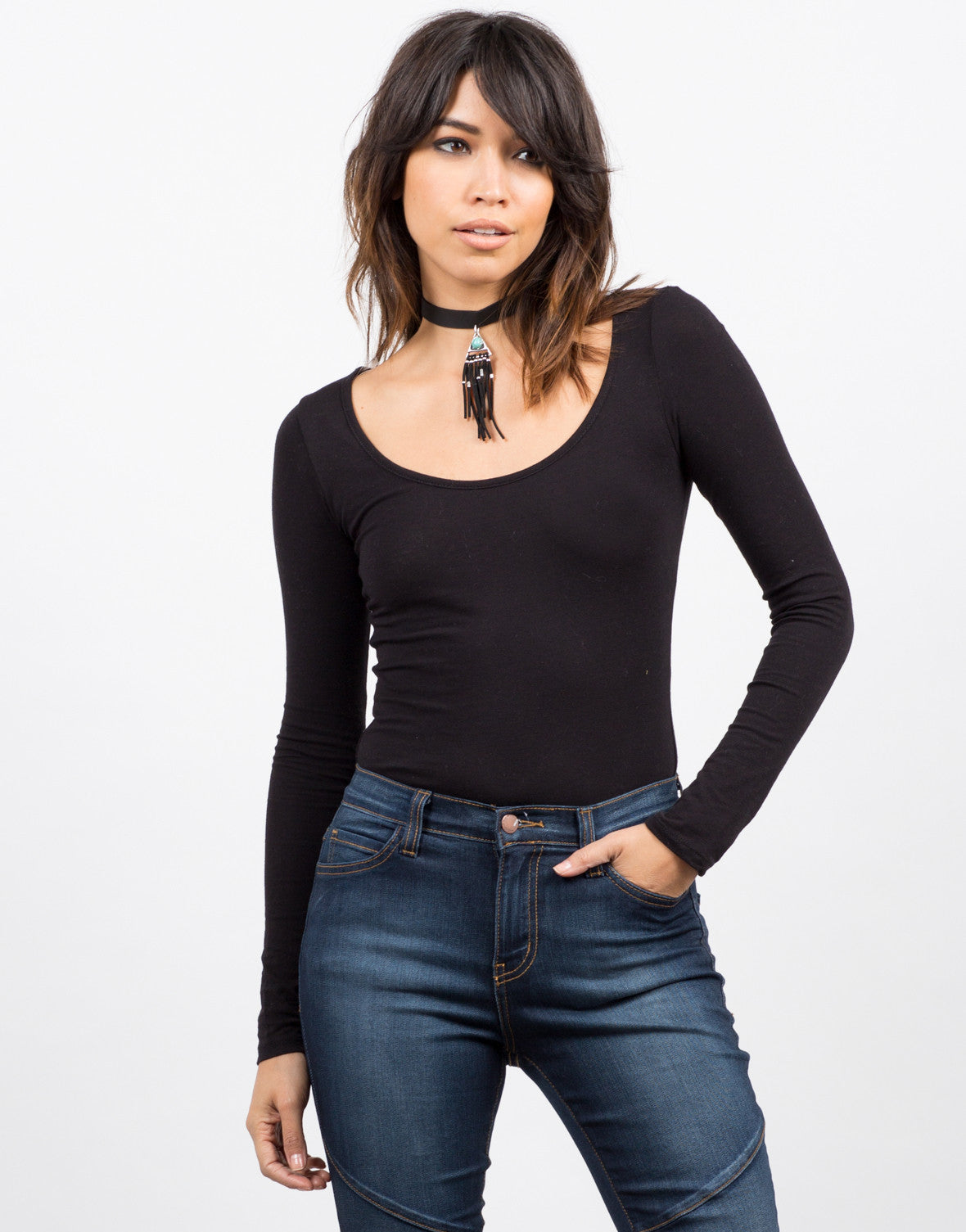 Front View of Scoopneck Bodysuit