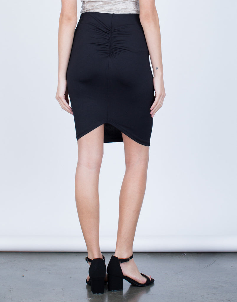 Back View of Scrunch Back Bodycon Skirt