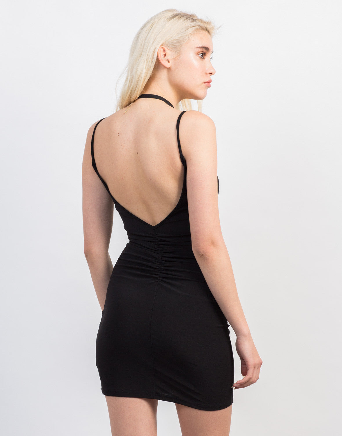 Back View of Scrunched Mini Black Dress