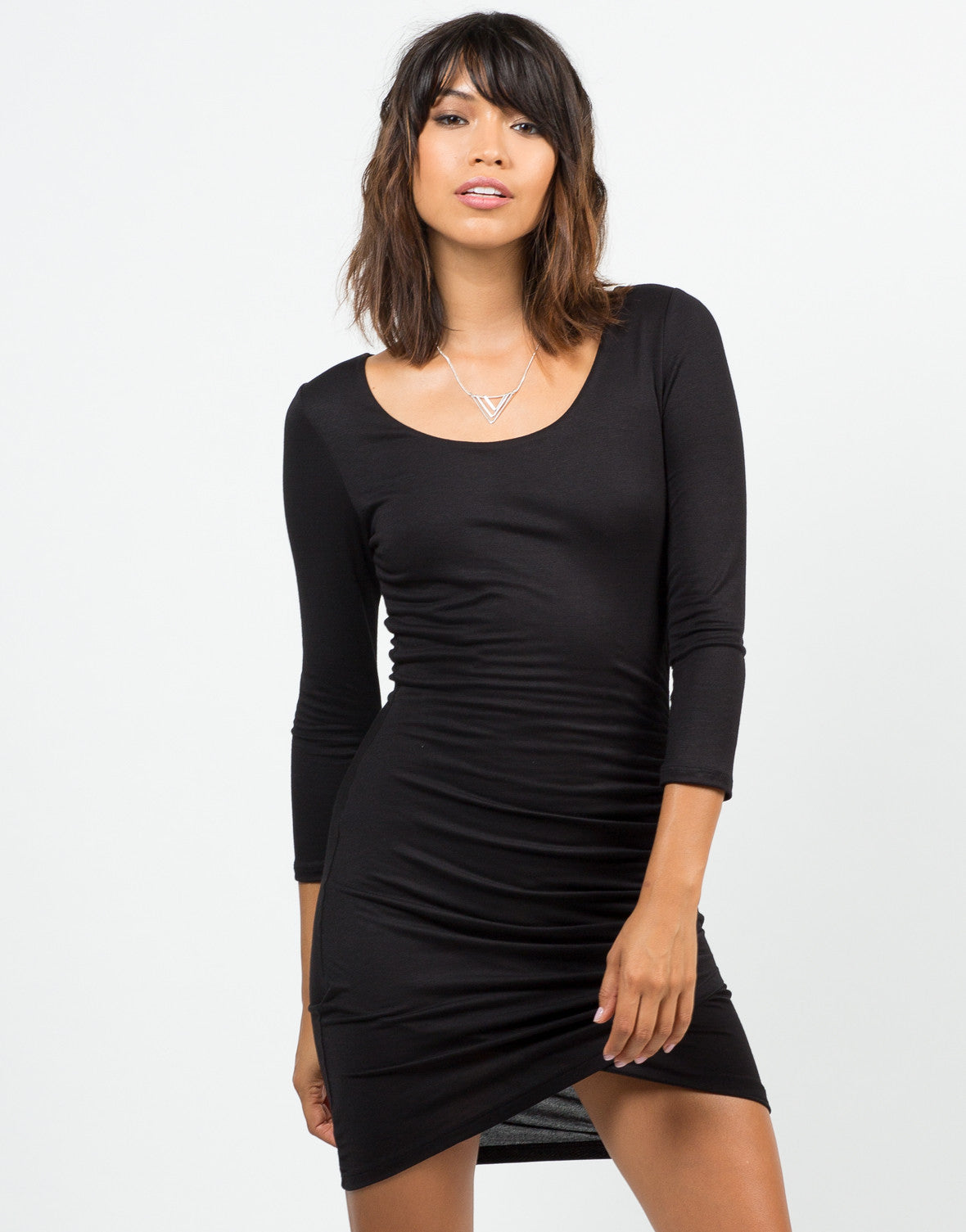 Front View of Scrunched Asymmetrical Dress