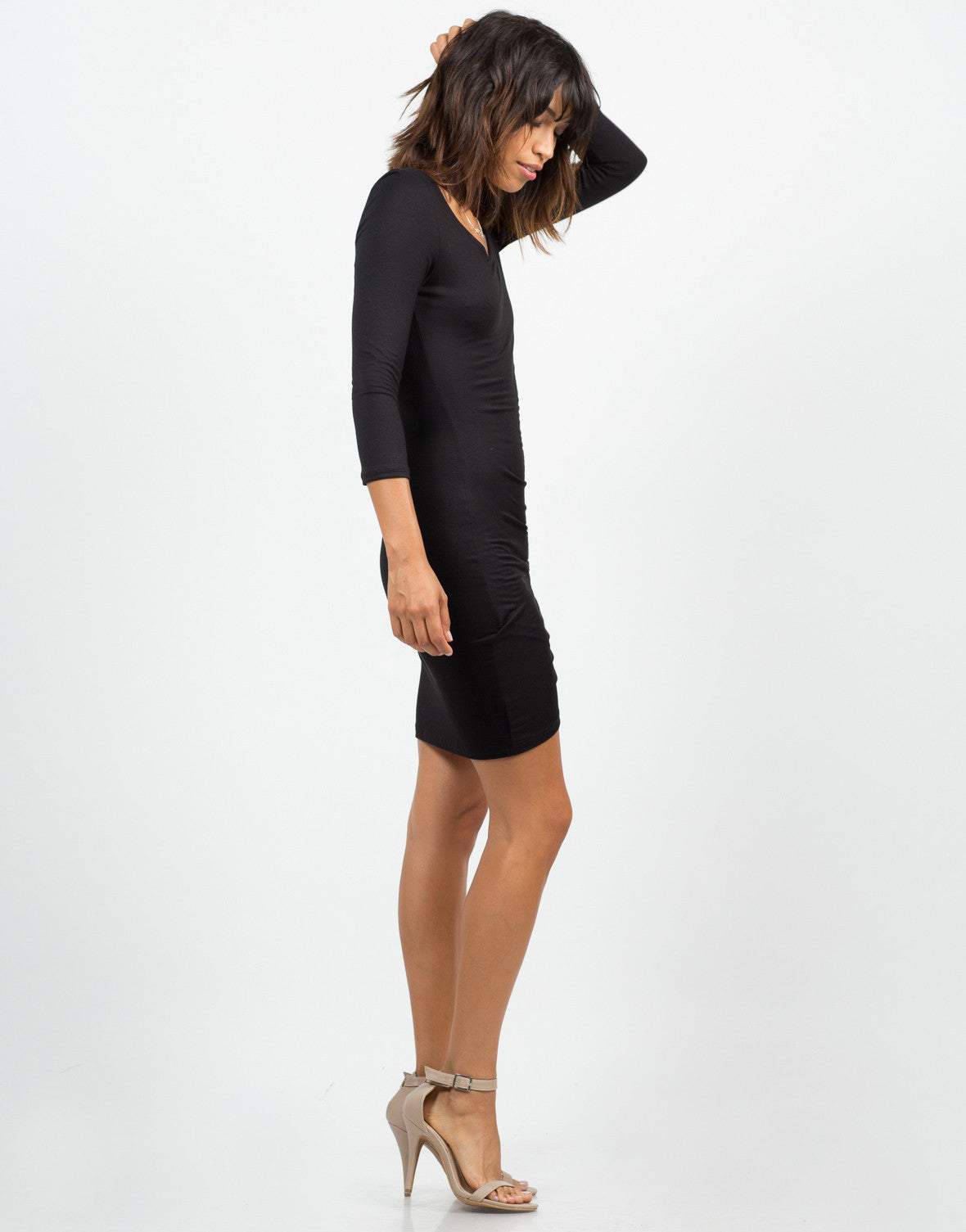 Side View of Scrunched Asymmetrical Dress