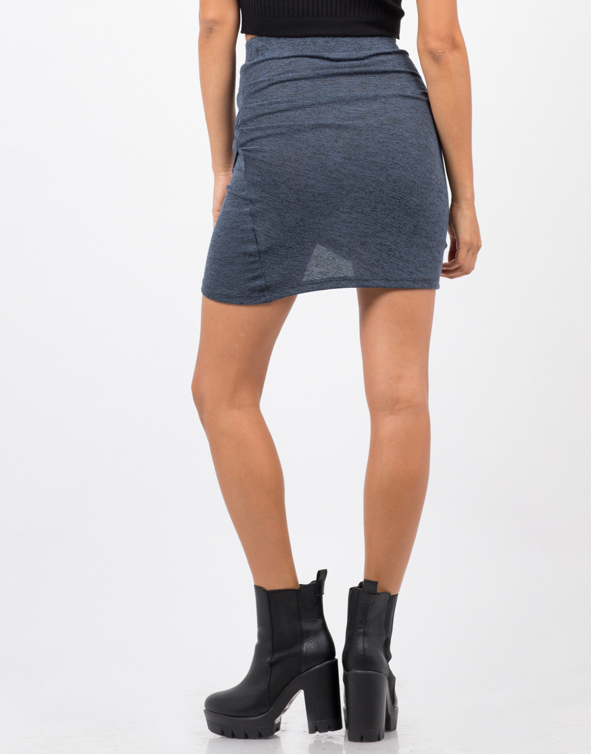 Back View of Scrunched Asymmetrical Knit Skirt
