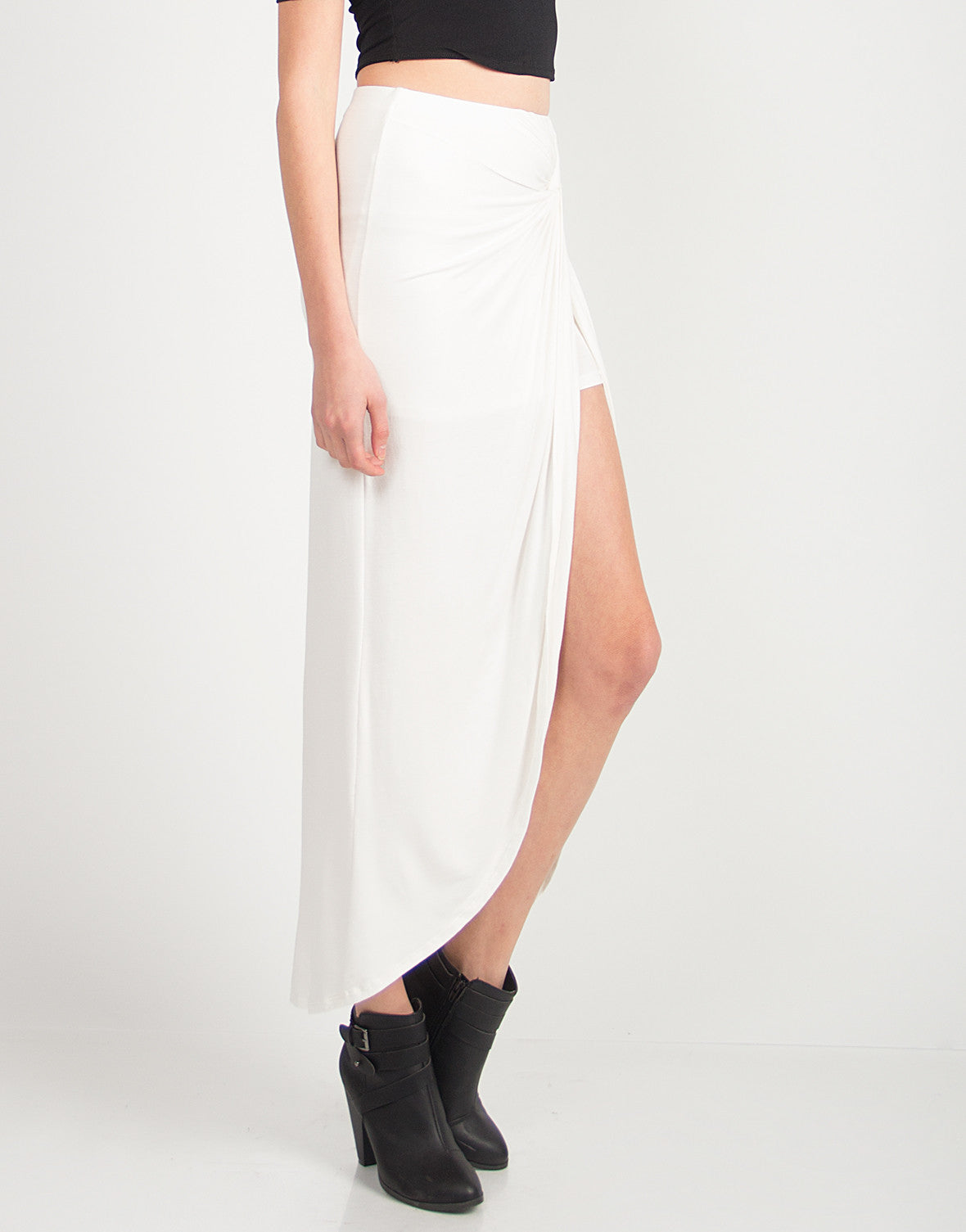 Scrunched Jersey Skirt - Ivory