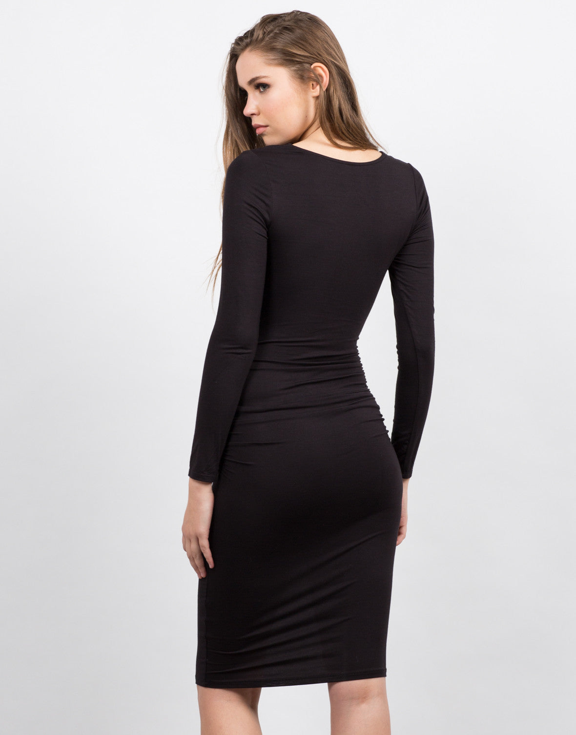 Back View of Scrunched Lace Up Dress
