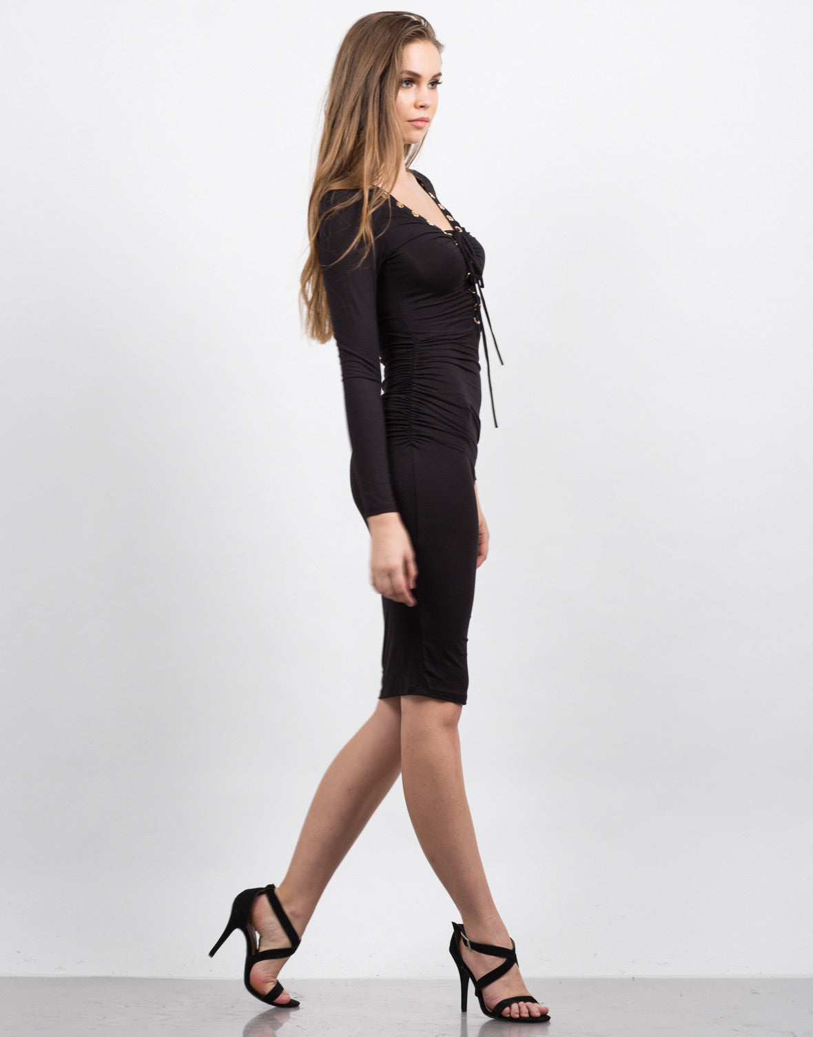 Side View of Scrunched Lace Up Dress