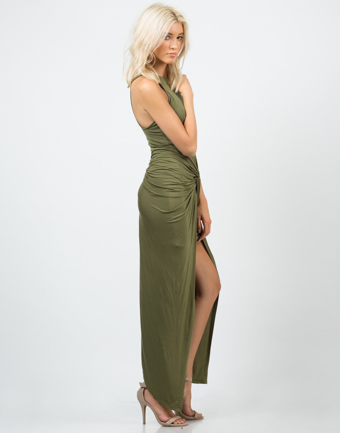 Side View of Side Scrunched Maxi Dress