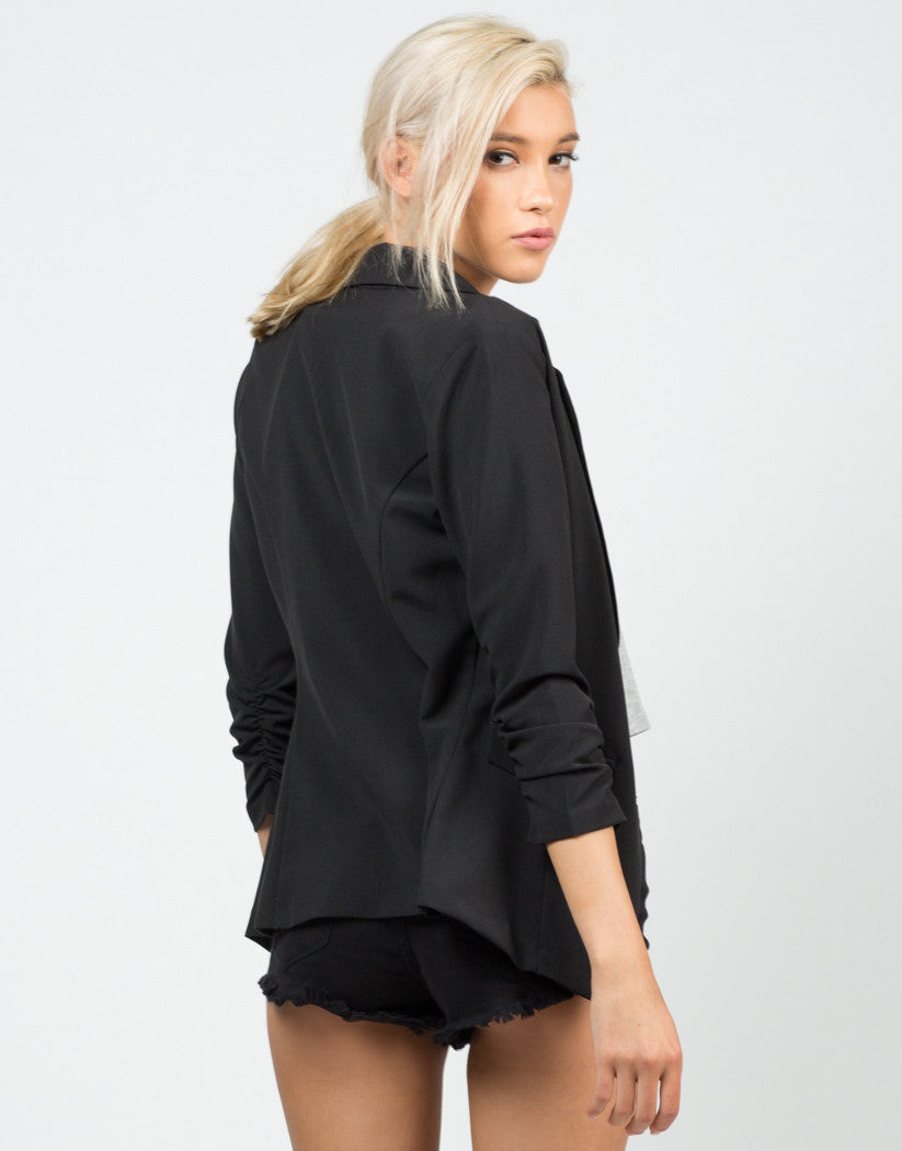 Back View of Scrunched Sleeves Blazer