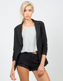 Front View of Scrunched Sleeves Blazer