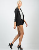 Side View of Scrunched Sleeves Blazer