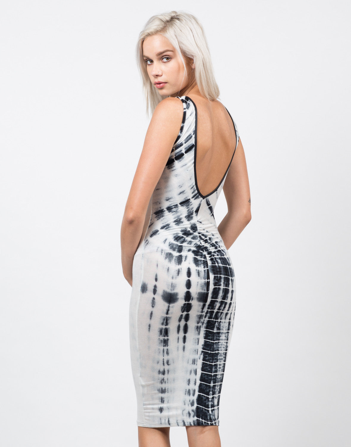 Back View of Scrunched Tie-Dye Midi Dress