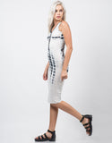 Side View of Scrunched Tie-Dye Midi Dress
