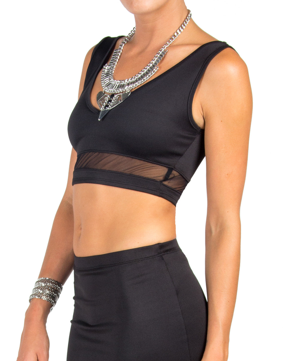 Scuba Mesh Panel Crop Tank - Large - 2020AVE