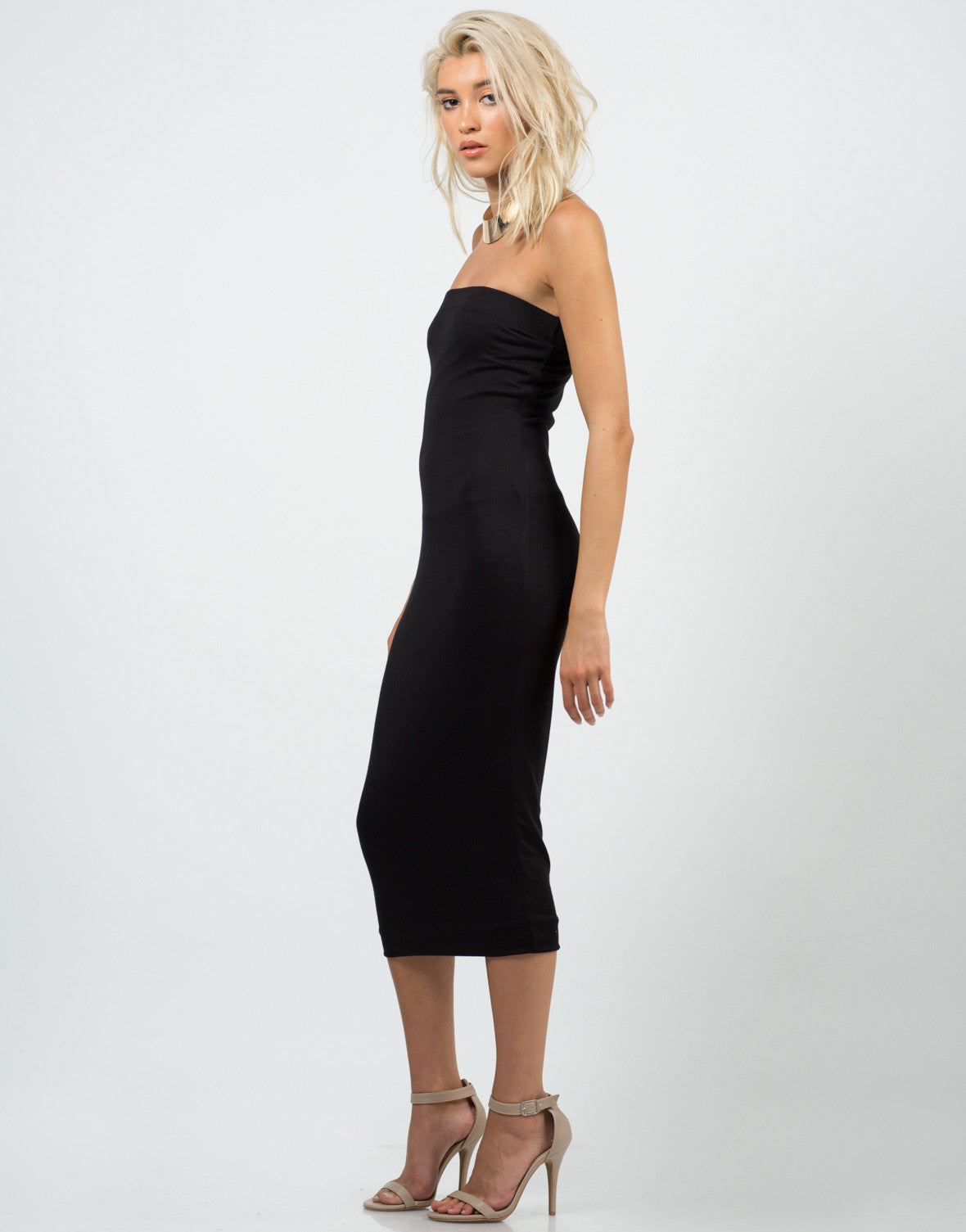 Side View of Seamless Strapless Midi Dress