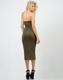 Back View of Seamless Strapless Midi Dress