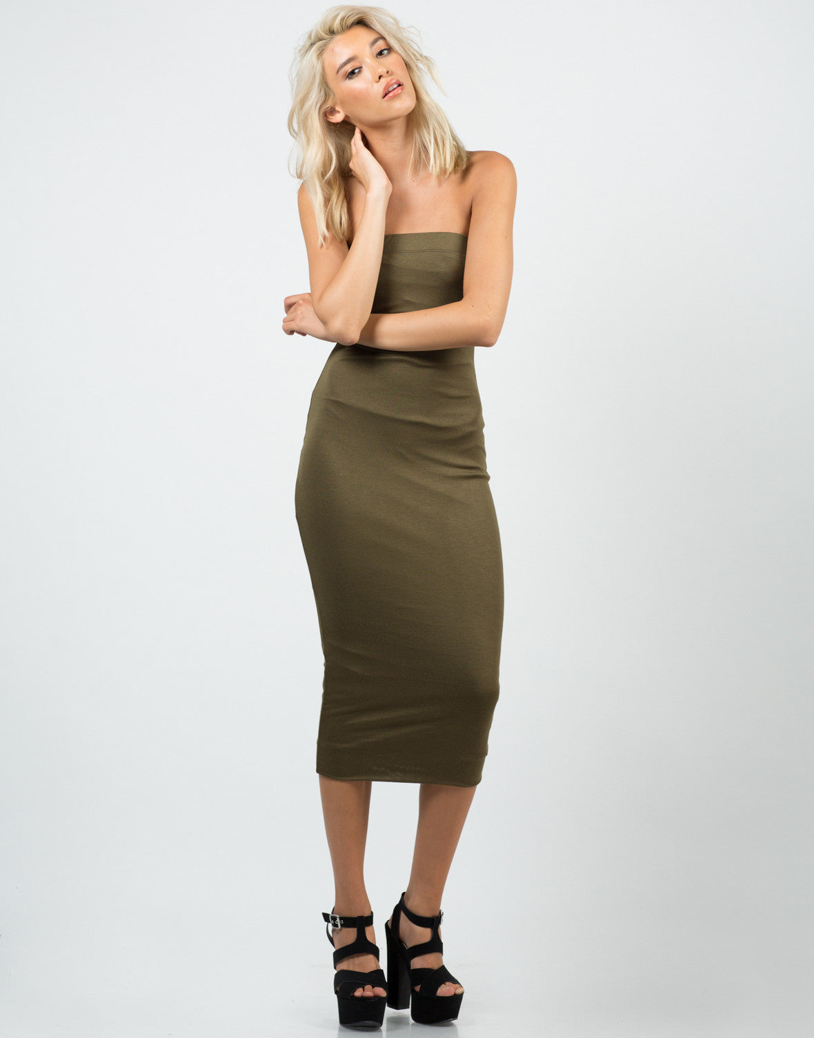 Front View of Seamless Strapless Midi Dress