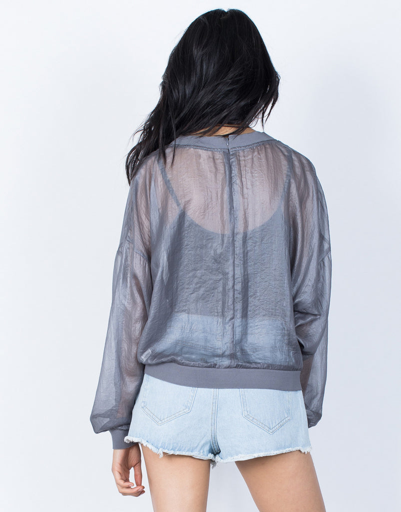 Gray See Right Through Me Blouse - Back View