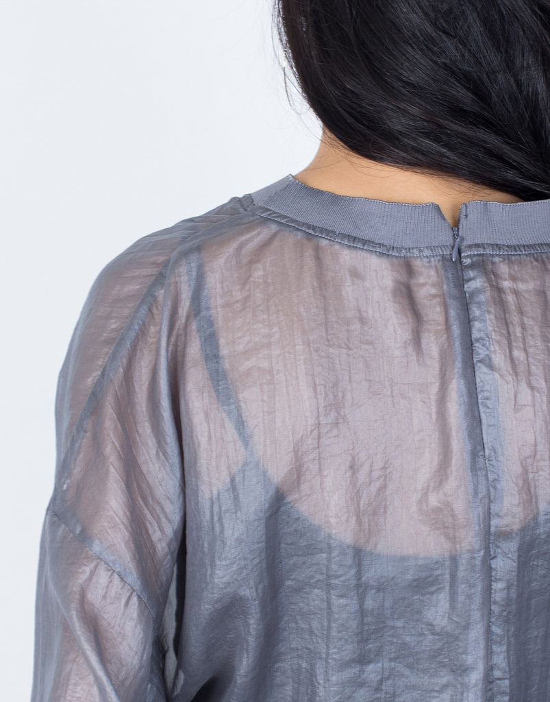 Gray See Right Through Me Blouse - Detail View