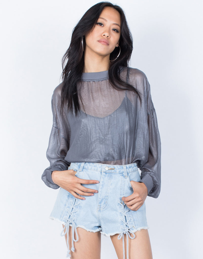 Gray See Right Through Me Blouse - Front View