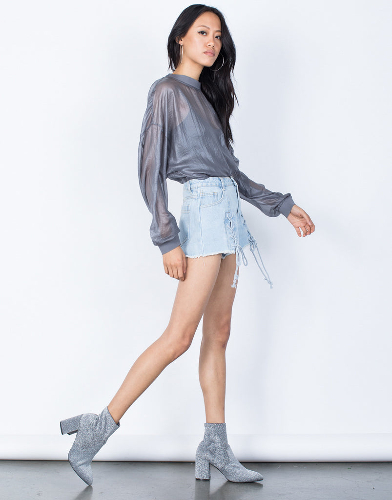 Gray See Right Through Me Blouse - Side View