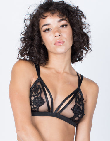 Black See Through Floral Bralette - Front View