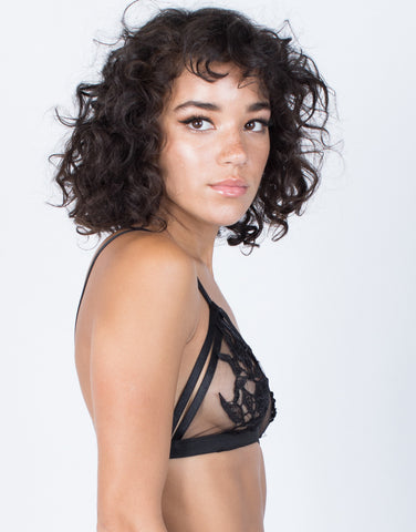 Black See Through Floral Bralette - SIde View