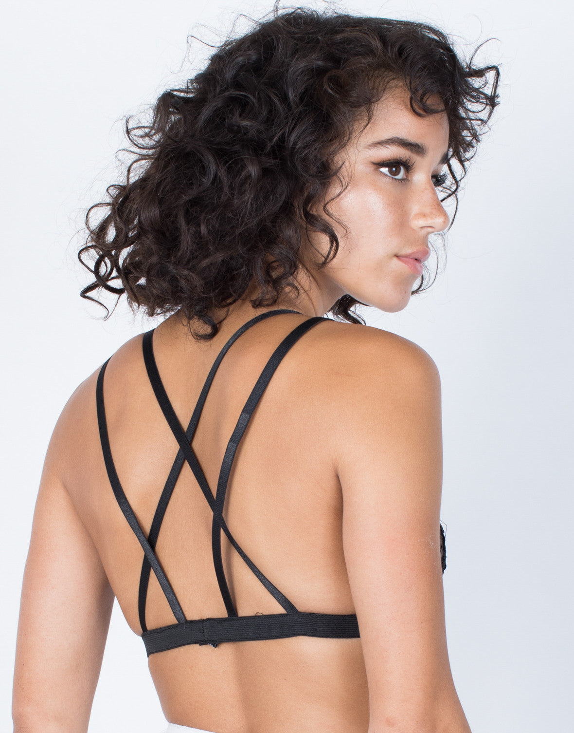 Black See Through Floral Bralette - Back VIew