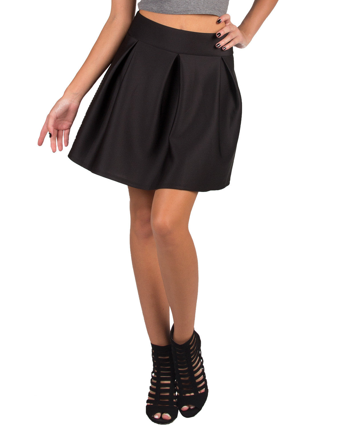 Semi Pleated A-Line Skirt - Ambiance 29067-1-Black