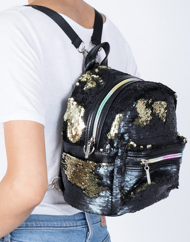 Black Sequin Thrills Backpack