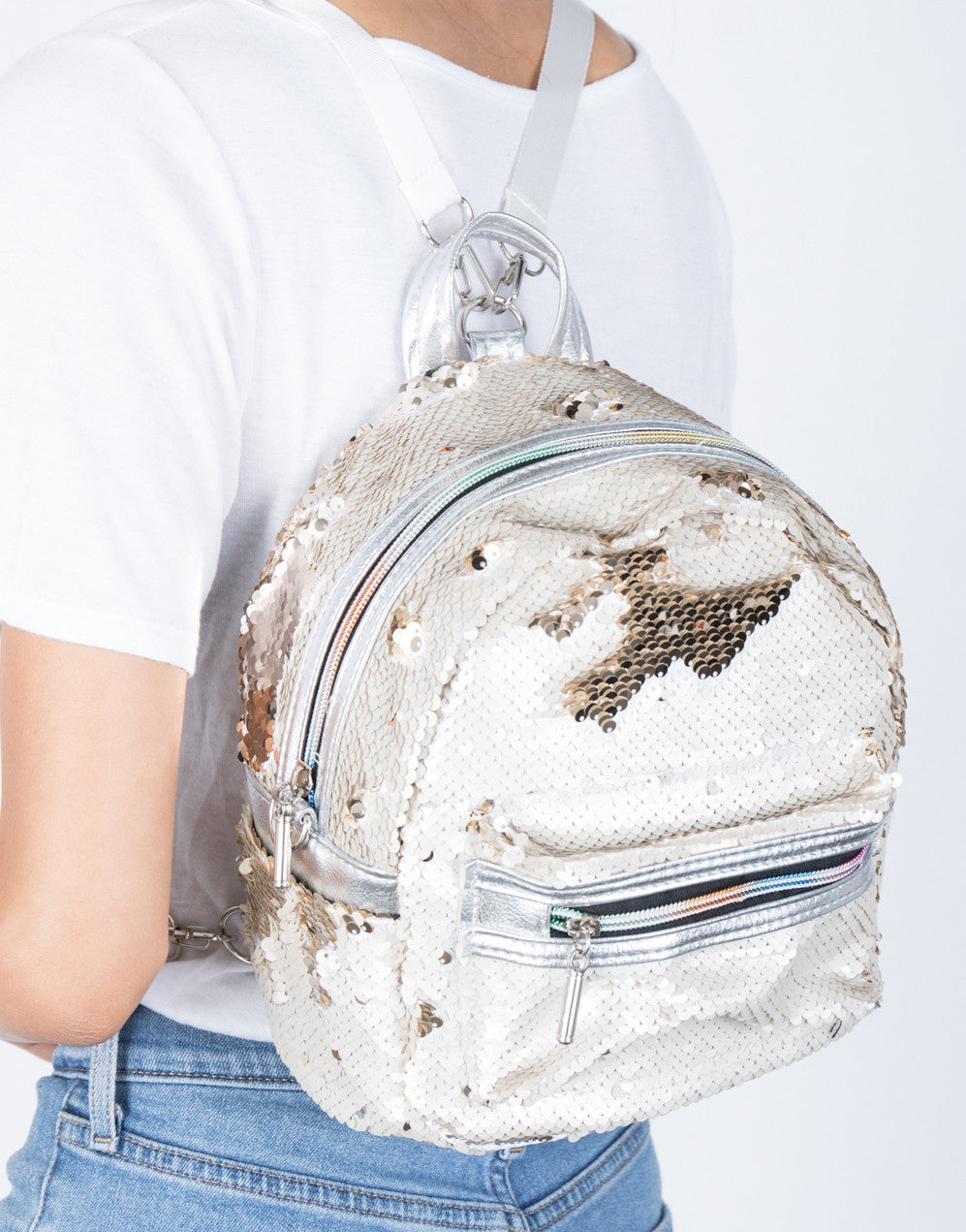 Silver/Gold Sequin Thrills Backpack - detail