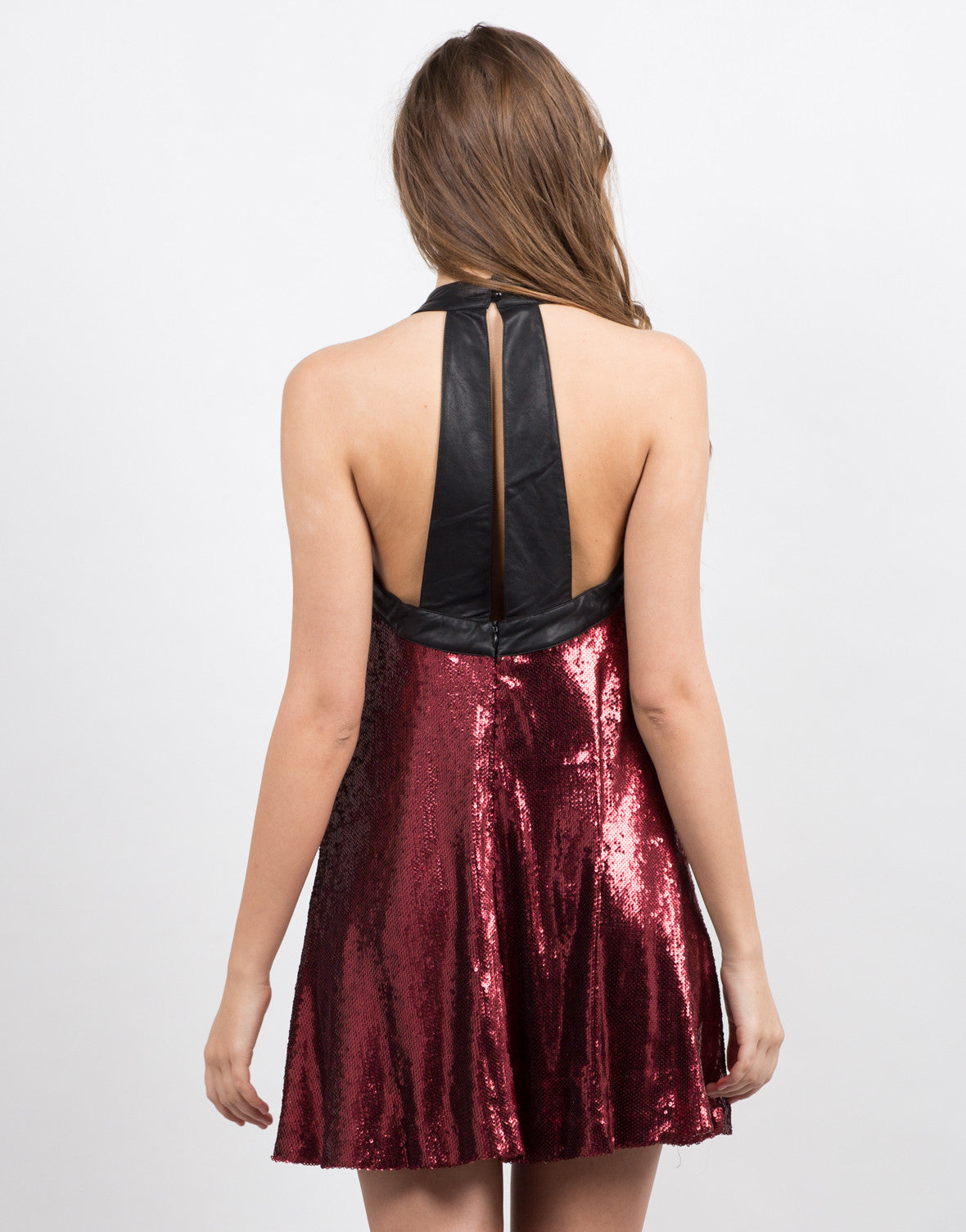 Back View of Sequin Flare Mini Dress