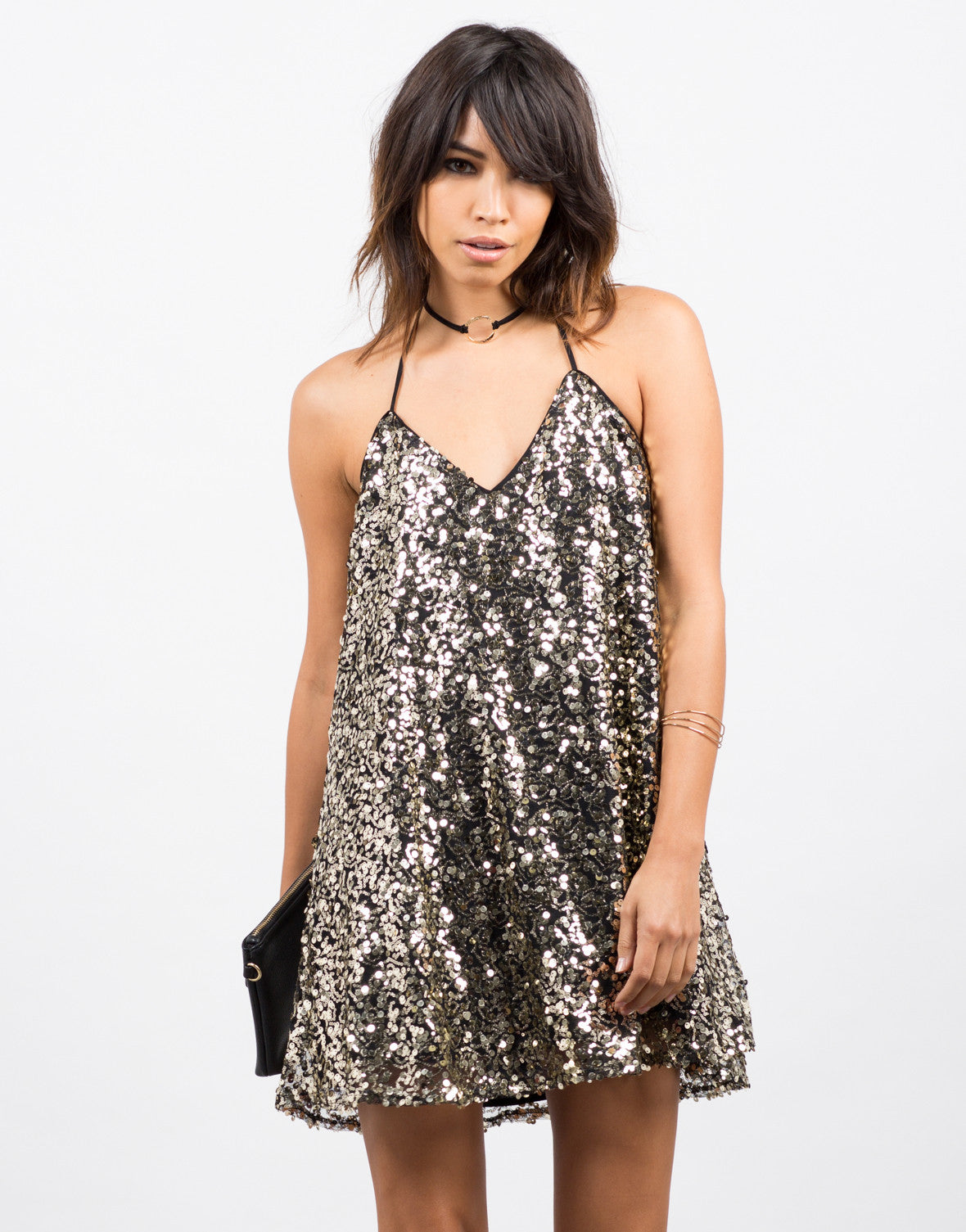 Front View of Sequin Mini Party Dress