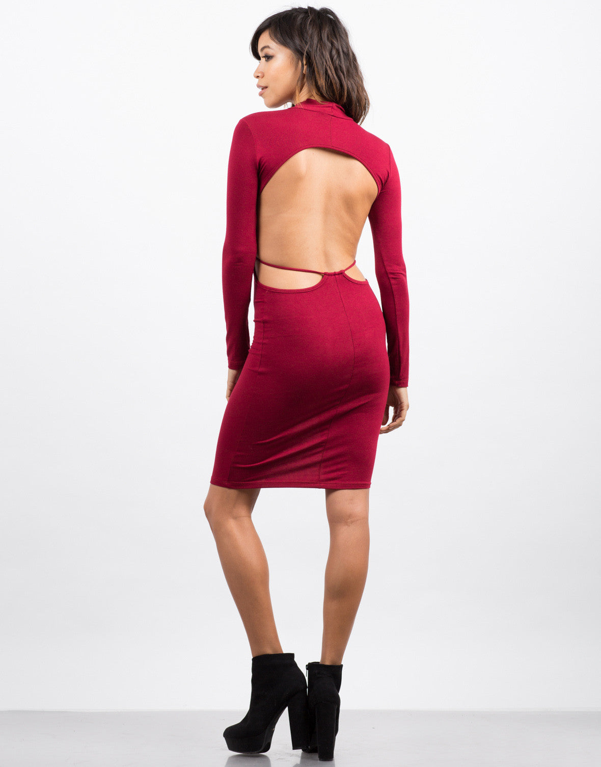 Back View of Sexy Back Mock Dress
