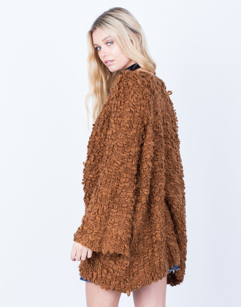 Back View of Shaggy Furry Cardigan