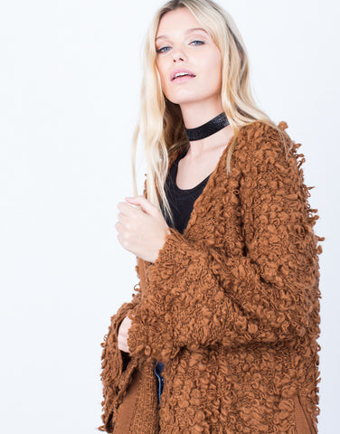 Detail of Shaggy Furry Cardigan