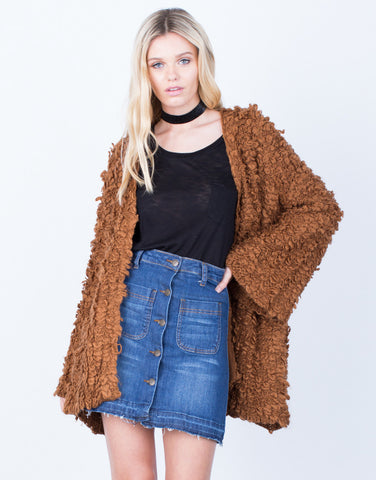 Front View of Shaggy Furry Cardigan