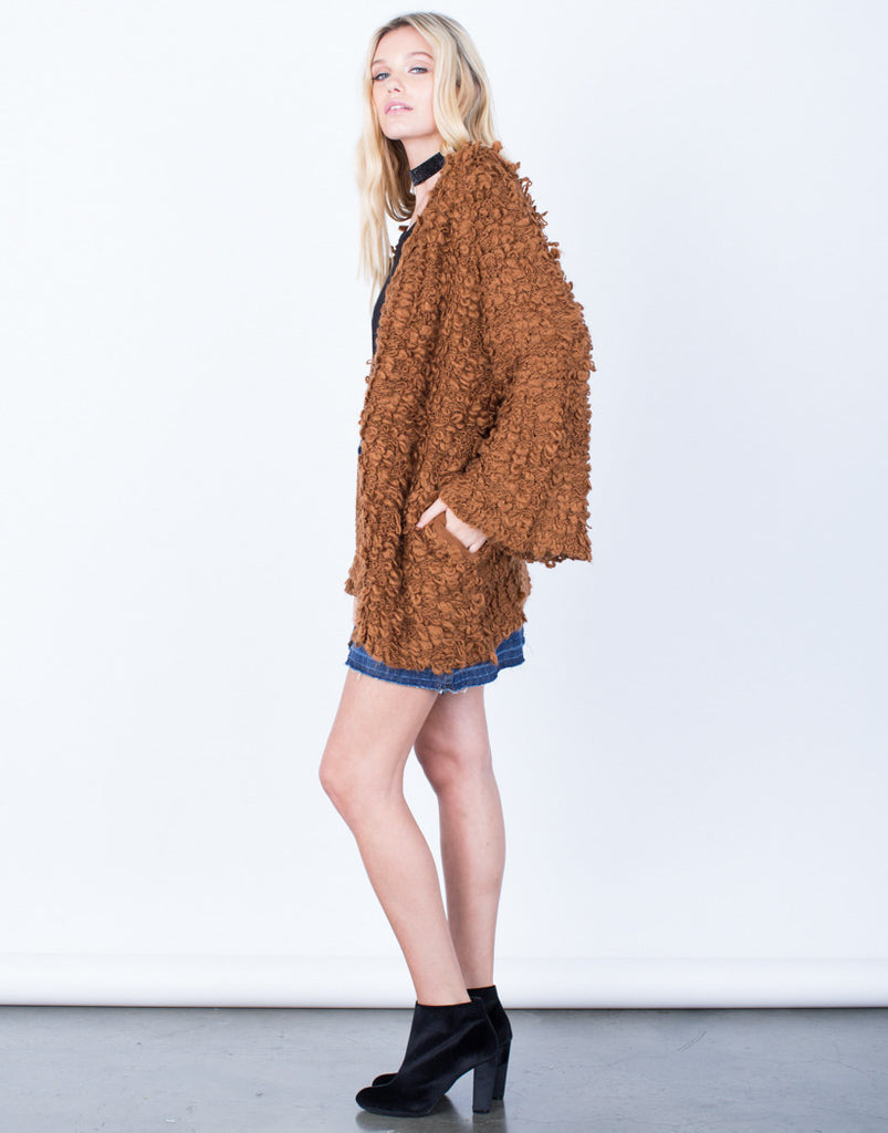 Side View of Shaggy Furry Cardigan