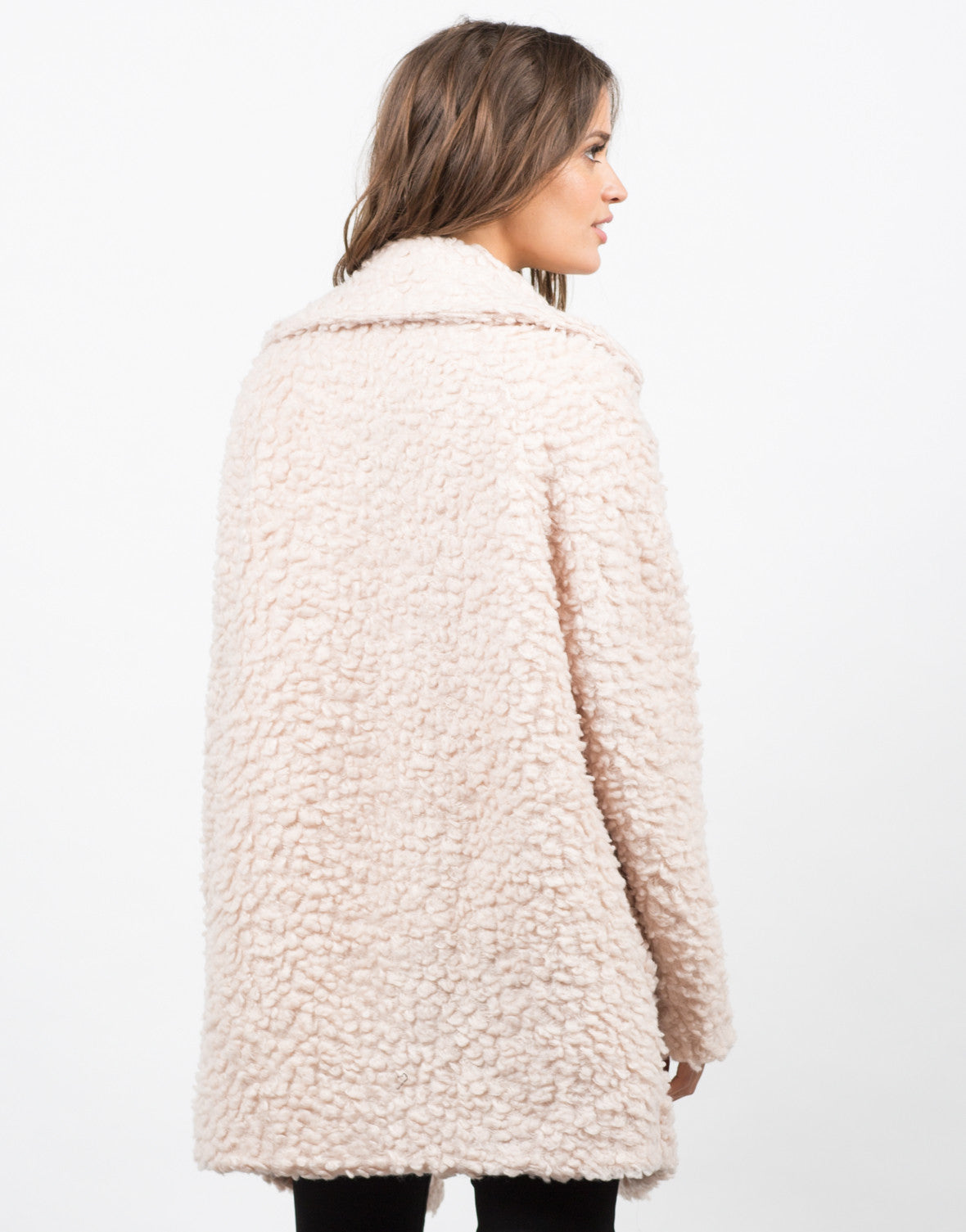 Back View of Shaggy Collared Coat