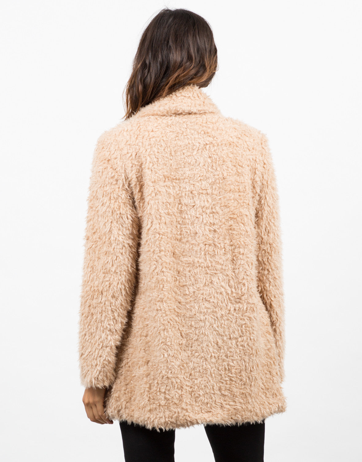 Back View of Shaggy Faux Fur Jacket
