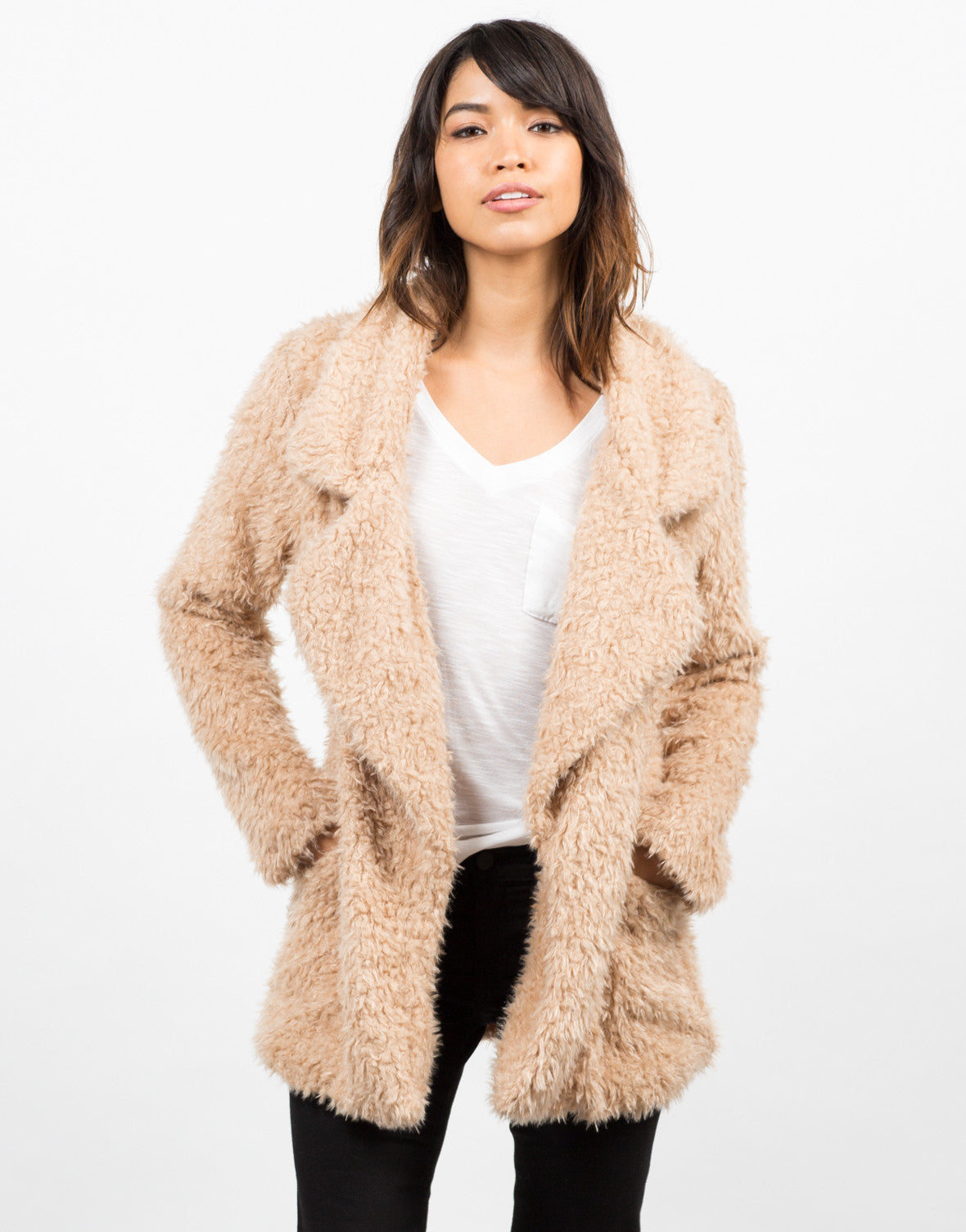 Front View of Shaggy Faux Fur Jacket