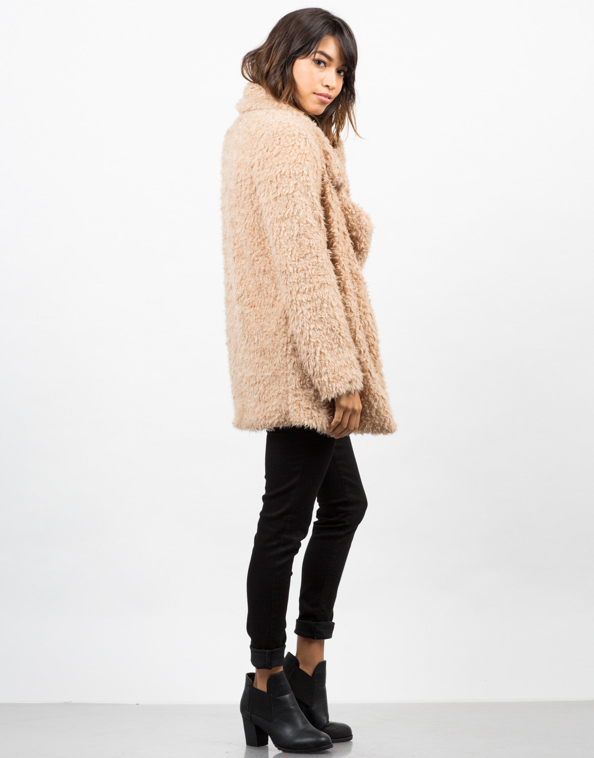 Side View of Shaggy Faux Fur Jacket
