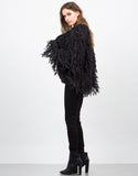 Side View of Shaggy Fur Jacket