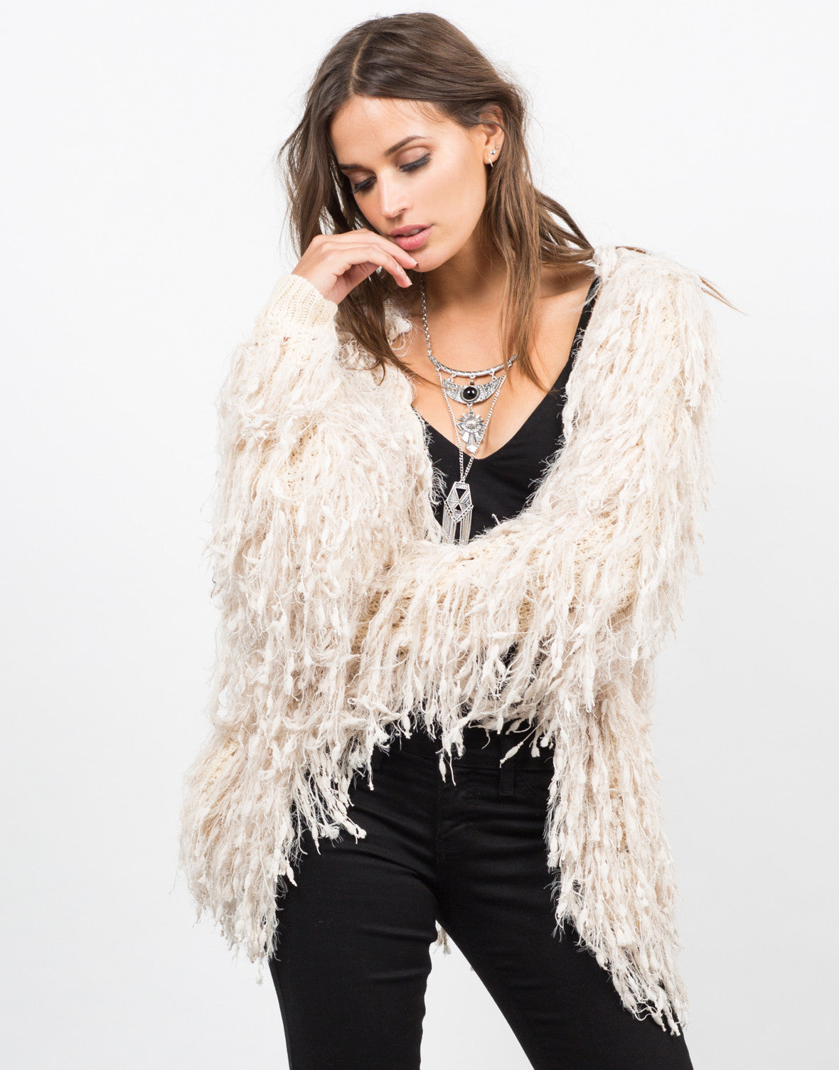 Front View of Shaggy Fur Jacket