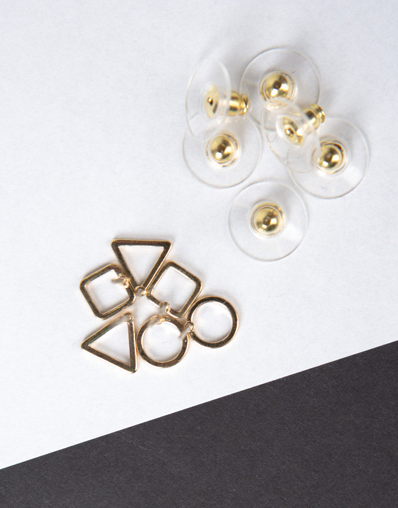 Shaped Stud Earring Set - Gold - 2020AVE