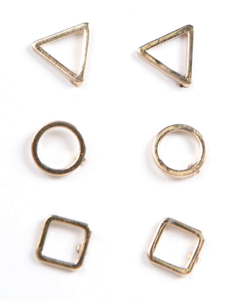 Front View of Shaped Stud Earring Set